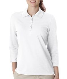 Izod Women`s 3/4-Sleeve Silk-Washed Pique Polo Shirt. Z0083 $25.99 #bestseller