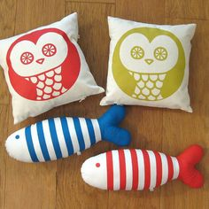 Owl and Fish are made with cotton fabrics silkscreen-printed in our tiny studio in Madrid with eco-friendly inks.