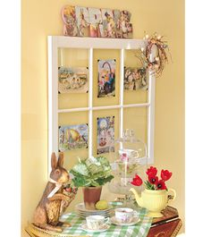 For a fashionable focal point, give a salvaged window a fresh coat of paint and attach vintage-style Easter greetings to each pane.