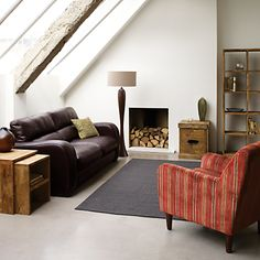 To add a romantic rustic feel to your living room look no further than the Stowaway Unfinished Living Room Furniture range at John Lewis. We love the unvarnished sheesham wood, which has a grain that looks even better as it ages. A perfect setting to get comfortable this Autumn Winter 2012!