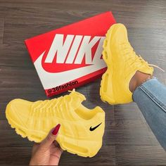 """Shop Women's size Sneakers at a discounted price at Poshmark. Description: Nike W Air Max """"Mustard""""New Arrival Original Full Palm Air Cushion Running Shoes For Men/Women Yellow Light Sneakers. Cute Sneakers, Sneakers Nike, Yellow Sneakers, Yellow Trainers, Yellow Nikes, Souliers Nike, Sneaker Trend, Sneaker Heels, Herren Outfit"""