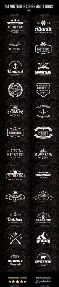 30 Retro Logos Template PSD, Vector EPS, AI. Download here: http ...