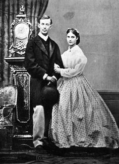 Empress Maria Fyodorovna of Russia, (1847 - 1928), as Princess Marie Dagmar of Denmark, with her first fiance, Grand Duke Nicholas of Russia (1843 - 1965)