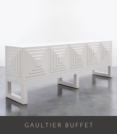 """90"""" long x 19"""" deep x 31"""" high as shown in white lacquer available in all shine…"""