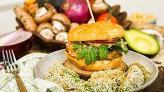 Veggie Burger with Avocado Fries