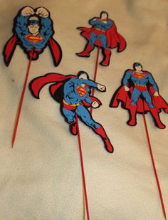 Super Hero Party Decor Superman Large charactor Sticks Super Hero Party. $9.99, via Etsy.