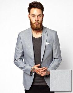 ASOS | ASOS Slim Fit Blazer In Oxford at ASOS
