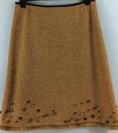 M&S vintage brown wool blend tweed fur trimmed skirt UK 14/16 pebbles by Bluetwinklecat on Etsy