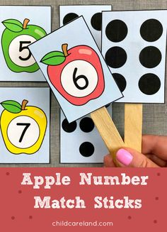 Apple number matching activitiy for number recognition and review. Early Learning Activities, Apple Activities, Autism Activities, Cognitive Activities, Motor Activities, All About Me Book, Back To School Special, Apple Prints, School