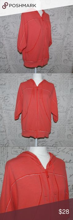 """The North Face Hooded Sweater Short Sleeve M The North Face Women's Hooded Sweater Orange  Full Zip  Short Dolman Sleeve   Medium  Measurements taken with garment flat on table. Length: 24"""" The North Face Tops Sweatshirts & Hoodies"""