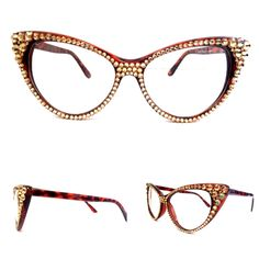 f8d0f0e87c0e Optical CRYSTAL Cat Eye Glasses - Gold on Brown Frame ... Face Jewellery