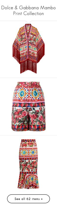"""""""Dolce & Gabbana Mambo Print Collection"""" by rizqia97 ❤ liked on Polyvore featuring tops, tunics, jackets, pastel pink, fringe top, red kaftan, dolce gabbana top, red tunic, red top and intimates"""