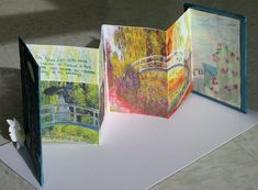 students created accordion books inspired by the artist of the student's choice.  they researched the artist to find the content for their books.  books tell the story of their artist, demonstrate the artist's style, and explore the content of their artist's work.