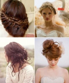 Acconciature da sposa: i raccolti - Love the woman's hair on the lower left photo.