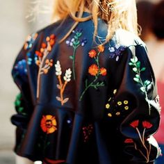 Floral embellishments to make a leather jacket more unique this season