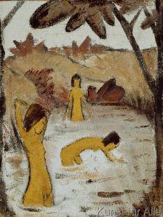 Otto Mueller - Drei Badende im Teich - Three bathers in