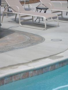 Stained cement to match pool tile