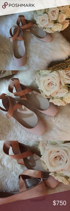🍃💕 Oh Chloé ... Ballerina flats, genuine blush nude-pink Castro Lamb leather with satin leather trimmings and elastic wide ankle wraps ... leather some, insole ... just marvelous, used lovingly once in Paris ... almost brand new, Box, purchased from Bon Marché Rive Gauche Paris 🍃💕 Chloe Shoes