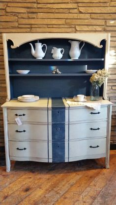 Annie Sloan chalk Paint® country grey and a custom mix of Napoleonic/graphite.  See more at www.sweetrepeatsdanville.com