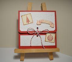 """carte porte cheque / billet """" merry christmas"""" rouge et flocons : Cartes par chez-isaline"""