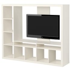 EXPEDIT TV storage unit - white - IKEA. Use this for entry way storage. Add coat hooks and bins.
