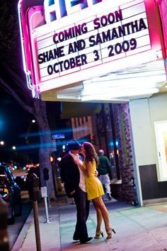 Movie theme - save the date; engagement photo idea