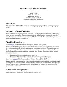 retail store manager resume example httpwwwresumecareerinforetail store manager resume example 2 resume career termplate free pinterest - Resume Examples For Retail