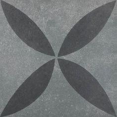 Flower Black on Grey | vtwonen buitentegels