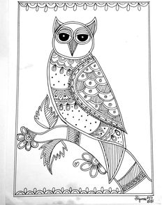 Madhubani Art, Madhubani Painting, Indian Folk Art, Drawing Art, Easy Drawings, Mandala, Owl, Arts And Crafts, Canvas
