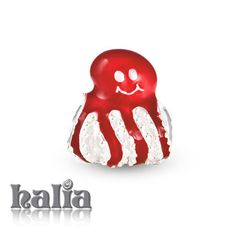 Happy Octopus: The happiest little cephalopod in red enamel on sterling silver: designed exclusively by Halia, this bead fits other popular bead-style charm bracelets as well. Sterling silver, hypo-allergenic and nickel free.    $42.00