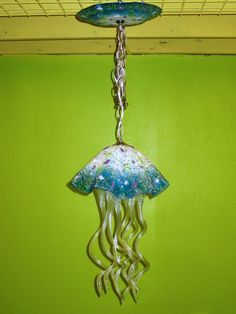 Blown Glass Chandelier - Jellyfish Light - Turquoise White Pink Purple Green by PrimoLighting on Etsy