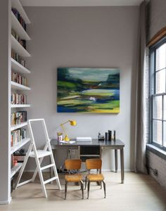 Brooklyn Family Loft In A Former Factory. Lovely little library/study area.