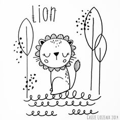 Lion. Day 54 of yearlong 30 minute a day sketchbook project. Cassie Loizeaux