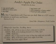 Andy's apple pie order - Aunt Bee's Delightful Desserts