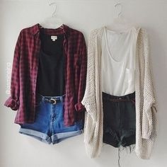 | Black Tee | Red Flannel | Denim Shorts | White Tank Top | Creme Colored Cardigan | Black High Waisted Shorts |