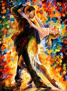 "Midnight Tango — PALETTE KNIFE Oil Painting On Canvas By Leonid Afremov - Size: 30"" x 40"""