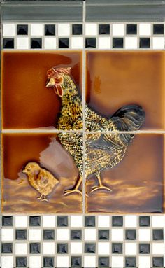 Hen and chick traditional kitchen tile