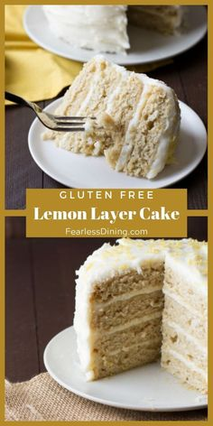 Super Easy Gluten Free Lemon Cake This easy gluten free lemon layer cake is perfect for a party. This recipe can also be used to make cupcakes or a sheet cake. Oreo Dessert, Dessert Sans Gluten, Bon Dessert, Gluten Free Lemon Cake, Gluten Free Cakes, Gluten Free Desserts, Gluten Free Recipes, Best Gluten Free Cake Recipe, Gluten Free Frosting