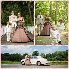 Onze trouwdag! 24062016  gekleurde trouwjurk ladybird 51046t #mrandmrsvanderkaaij #onzekindjes weddingdress coloured Brown kleur bruin