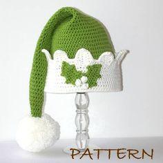 Christmas Elf Hat - Crochet pdf Pattern - 4 sizes (6 months to adult). $6.95, via Etsy.