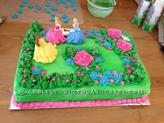 """I made this pretty princess garden cake for my daughter's sixth birthday. My daughter has severe food allergies but she always wants a """"store bought"""" desig Disney Princess Birthday Cakes, 1st Birthday Cake For Girls, Cool Birthday Cakes, Princess Cakes, Birthday Ideas, Birthday Parties, Cake Icing, Eat Cake, Cupcake Cakes"""