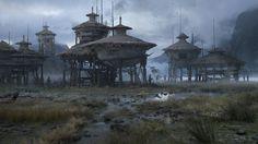 Settlement on the lake, Sergey Vasnev on ArtStation at https://www.artstation.com/artwork/r0W22
