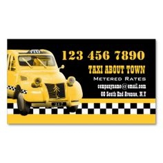 Taxi cab funny vintage yellow black business card templates. This is a fully customizable business card and available on several paper types for your needs. You can upload your own image or use the image as is. Just click this template to get started!
