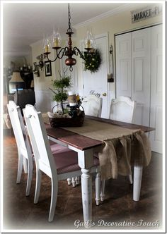 From Gail's Decorative Touch Blog - love this handmade farm table!!