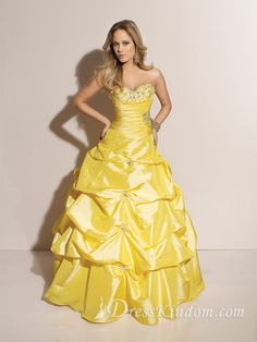 Brilliant Ball Gown Sweetheart Taffeta Yellow Quinceanera Dresses
