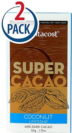 Vitacost Super Cacao Coconut with life'sDHA® - 66% Dark Cacao -- 1.75 oz Each / Pack of 2 - Vitacost
