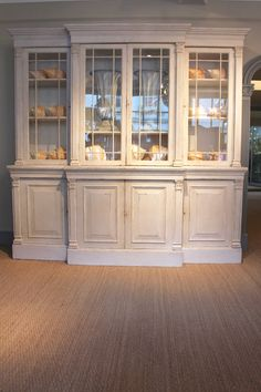 Furniture - A lovely quality late century breakfront bookcase, in the neoclassical taste, with later paint. Dining Room Hutch, Dining Room Furniture, Farmhouse China Cabinet, Rustic Painted Furniture, Elegant Dining Room, Glass Cabinet Doors, Beautiful Kitchens, Furniture Makeover, New Homes