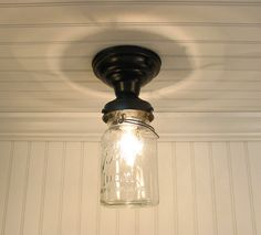 Single Vintage Canning Jar Ceiling LIGHT with PULL chain SWITCH reserved for Mullen