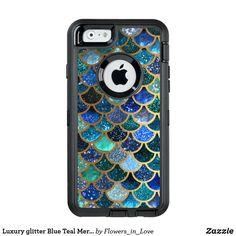 Luxury glitter Blue Teal Mermaid scales OtterBox Defender iPhone Case  #mermaid #technology #phonecase, #mermaid #case,#mermaid #iphone, #mermaid #samsung, #society6 #shopping #zazzle #onlineshopping #buyart #art #glamour #sparkle #girly #trendy #mermaidscales, #mermaid #scales #utart #betterhome