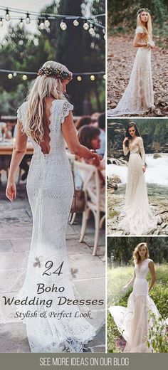 24 Boho Wedding Dresses Of Your Dream ❤ Such a wondrous boho wedding dresses, the lace, the line, the neckline, the back, simply remarkable. These gowns ideal choice for woodland, beach or countryside celebration.See more: http://www.weddingforward.com/boho-wedding-dresses/ #wedding #dresses #boho